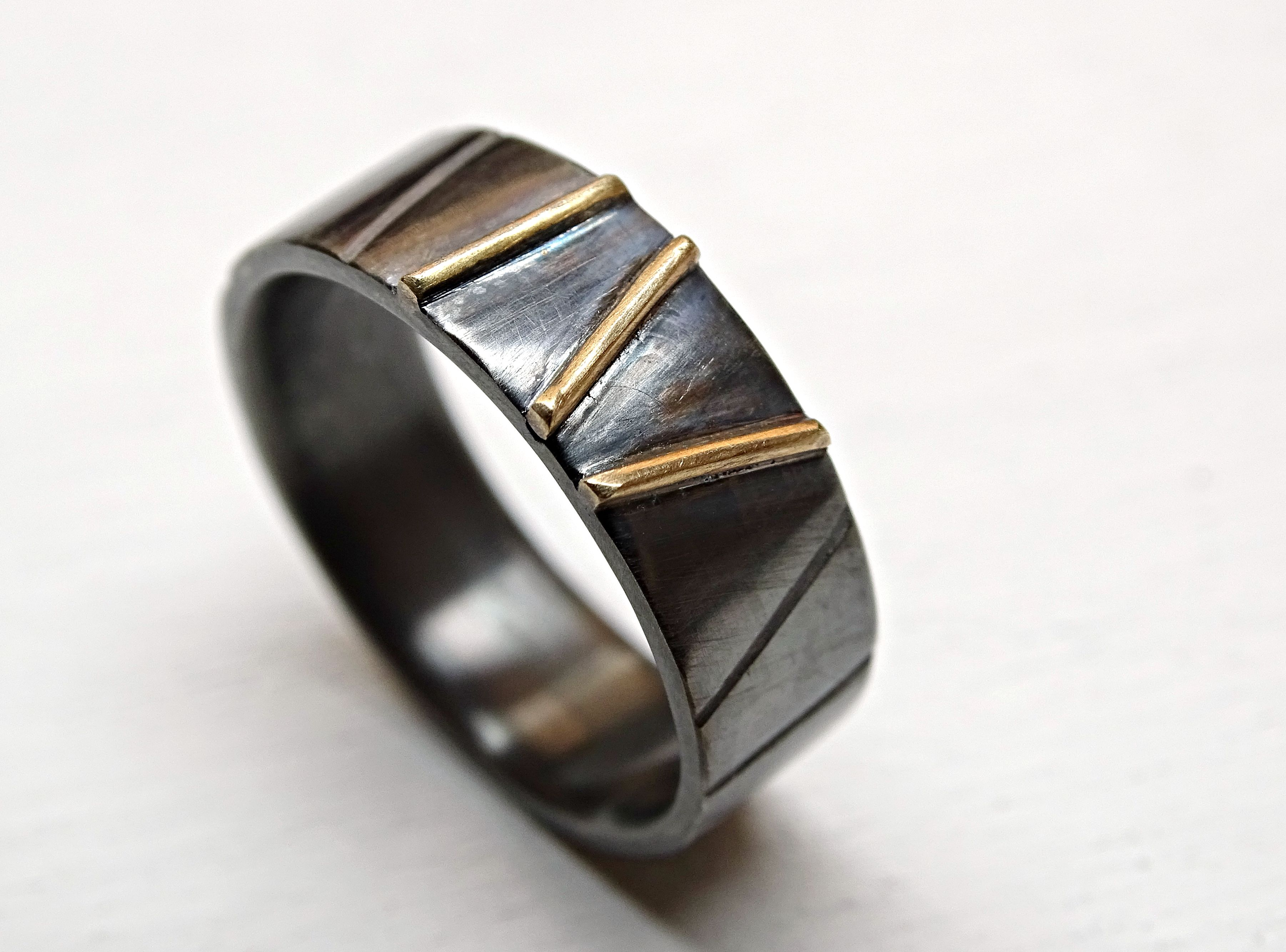 Buy Custom Black Silver Gold Wedding Ring Viking Wedding Band For