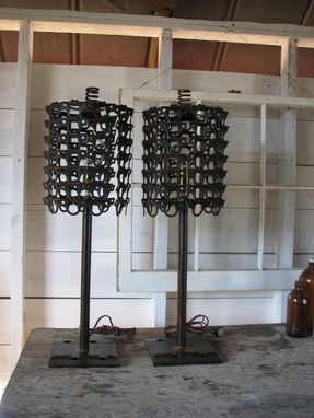 Custom Made Industrial Table Lamp With Repurposed Chain Shade