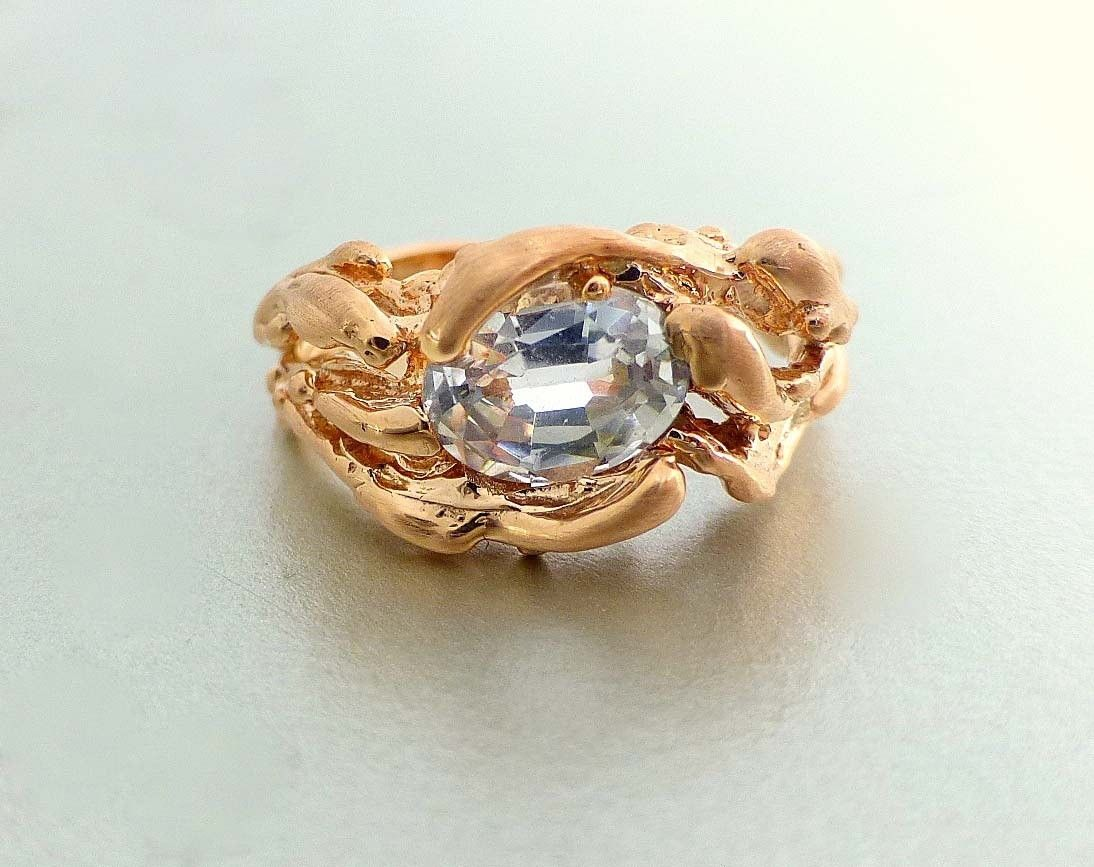 custom made unique engagement ring 14k pink gold oval white sapphire - Custom Made Wedding Rings