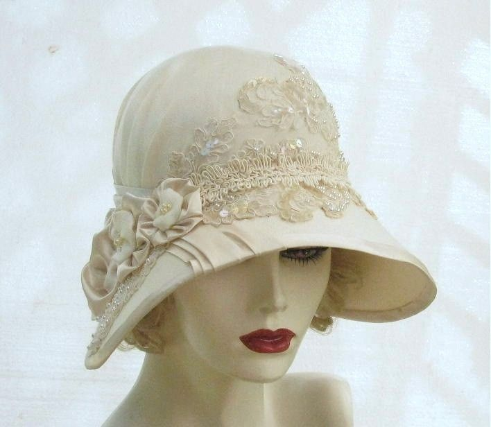 Handmade Vintage Style Buckram Ivory Cloche Wedding Hat by Gail's ...