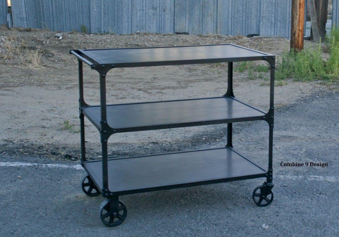 buy a custom vintage industrial mid century modern cart bar cart service cart urban. Black Bedroom Furniture Sets. Home Design Ideas