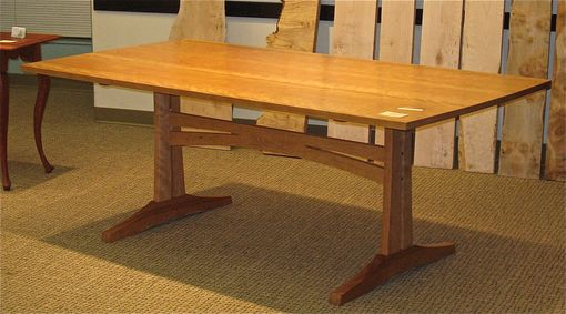 Custom Made Cherry 3-Plank Trestle Dining Table
