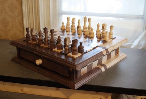 Custom Made Walnut And Maple Chess Set