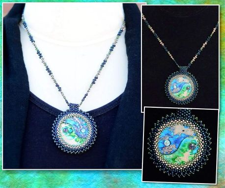 Custom Made Yinyang Dyed Variscite And Grass Turquoise Beaded Pendant And Necklace