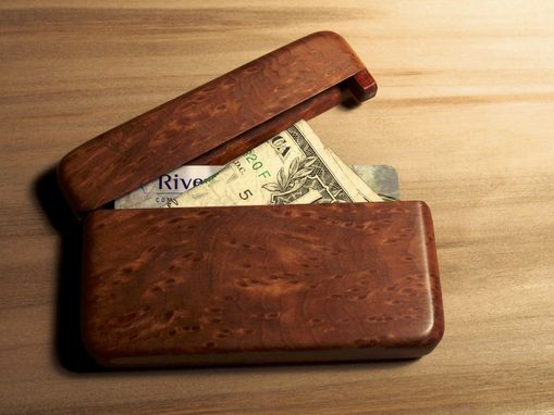 Custom Made Redwood Burl Wallet And Business Card Holder