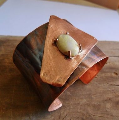 Custom Made Copper Cuff With Pineapple-Shaped Jasper Stone