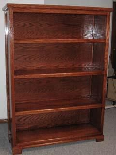 Custom Made 4 Shelf Oak Bookcase