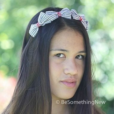 Custom Made Little Stripe Bow Headband In Blue And Red