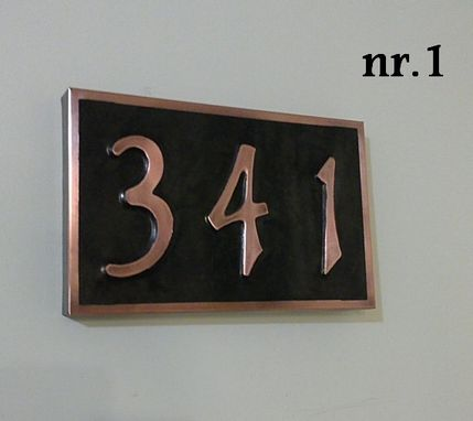 Custom Made Real Patina Copper Address Plaque House  Numbers