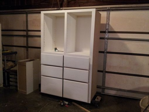 Custom Made Built In Bath Cabinet