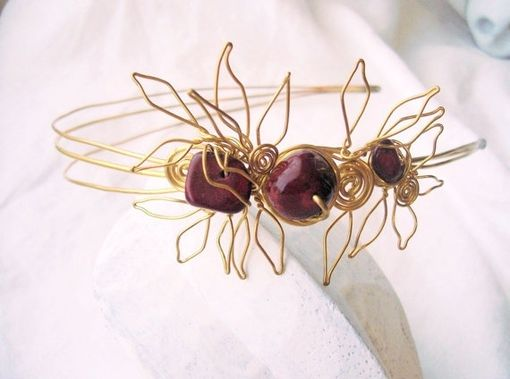 Custom Made Handmade Sculpted Wirework Headband In Brass And Stone
