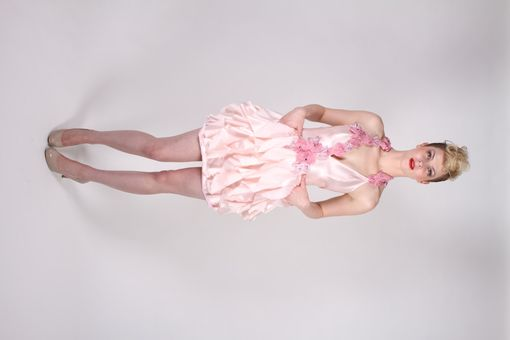 Custom Made Flesh Pink Ruffled Dress With Pockets