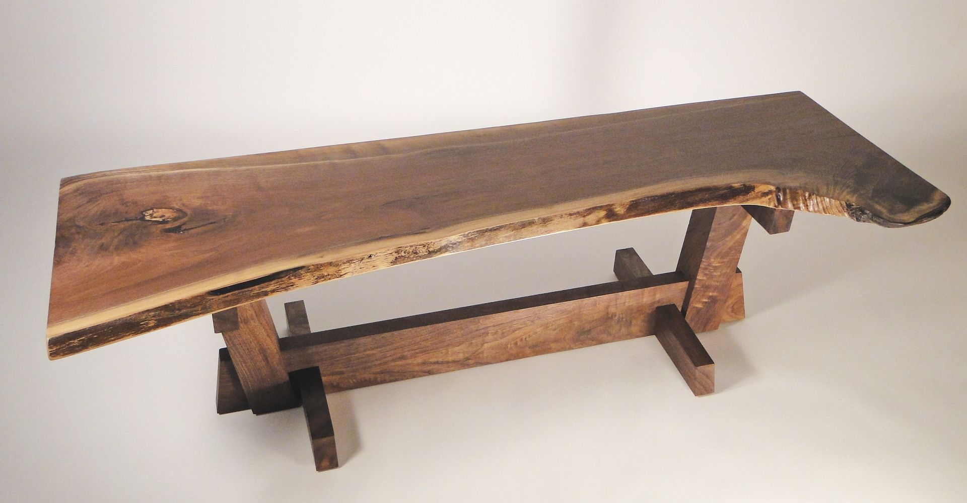 Handmade Nakashima Style Coffee Table Bench by The Wood Studio