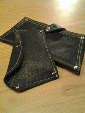 Custom Made Black Italian Steel Leather Wallet And Phone Case