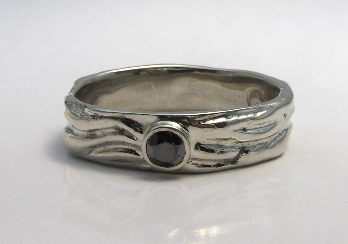 custom made mens unique wedding ring band eternal flame design black diamond handmade 14k - Mens Unique Wedding Ring