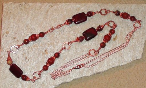 Custom Made Rainbow Brecciated Jasper, Red Flake Jasper & Red Jasper Necklace In Copper