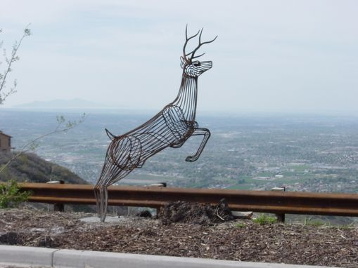 Custom Made Leaping Buck Welded Steel Scullpture