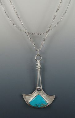 Custom Made Handmade Sterling Silver, Blue Turquoise And Cz Necklace