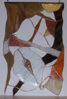 Custom Made Stained Glass Hanging Panel ----Natural Abstract Ooak (P-19)