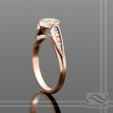 Custom Made Diamond Halo Ring In 14k Rose Gold