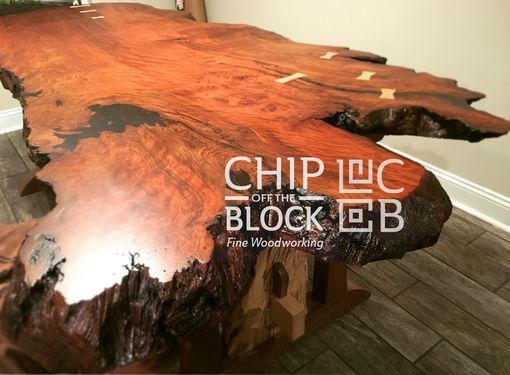 Custom Made Redwood Natural Edge Dining Table