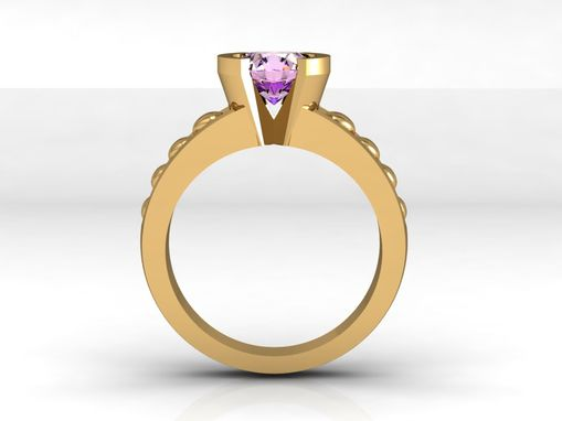 Custom Made Jewelry/Gold Ring/Yellow Gold Ring/Amethyst Center Stone Ring/Engagement Ring/