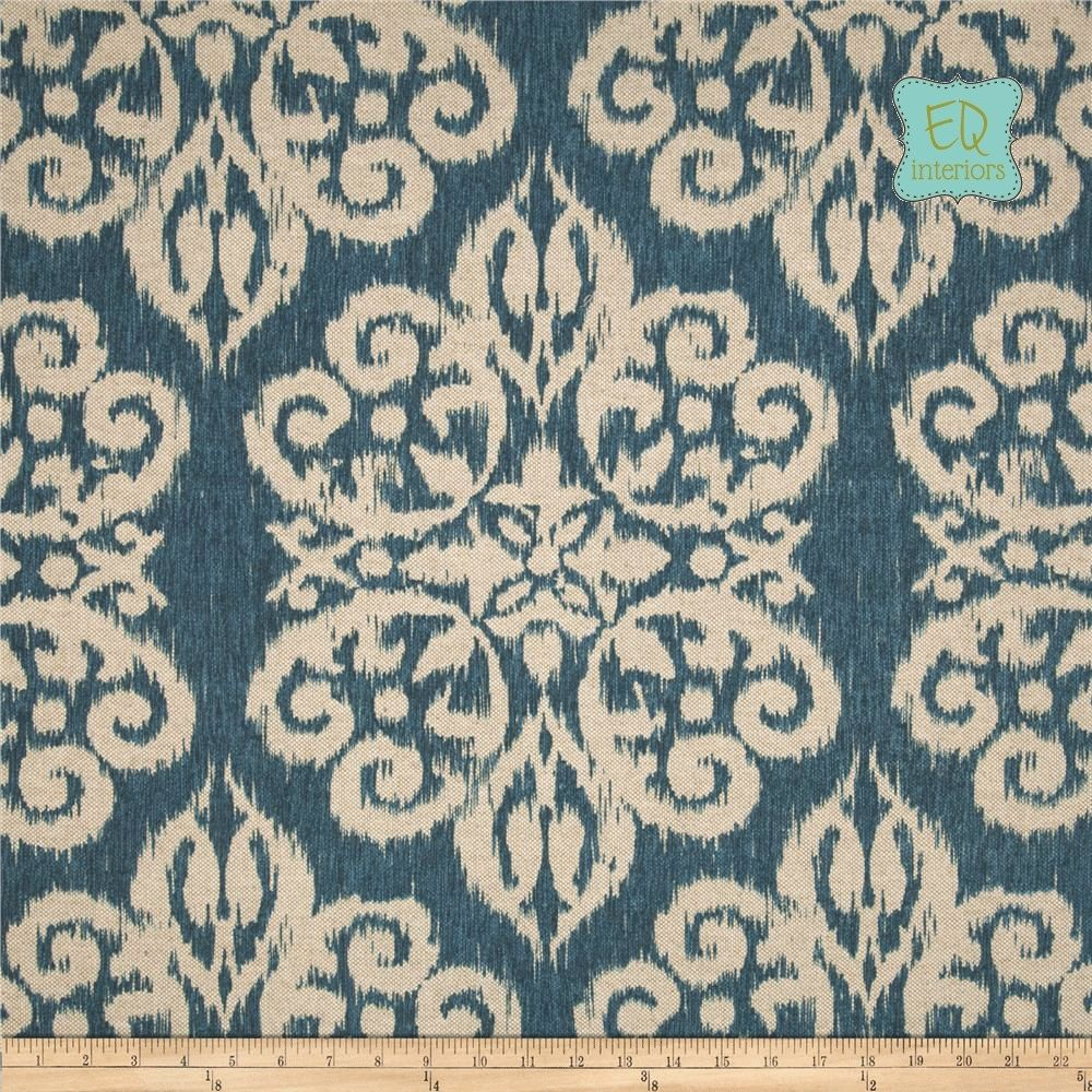 Designer curtain panels - Custom Made Custom Designer Draperies Bella Ikat Medallion Indigo Blue 90 L X 50