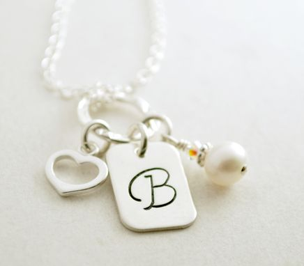 Custom Made Personalized Initial Necklace With Freshwater Pearl And Heart Charm Hand Stamped Sterling Silver