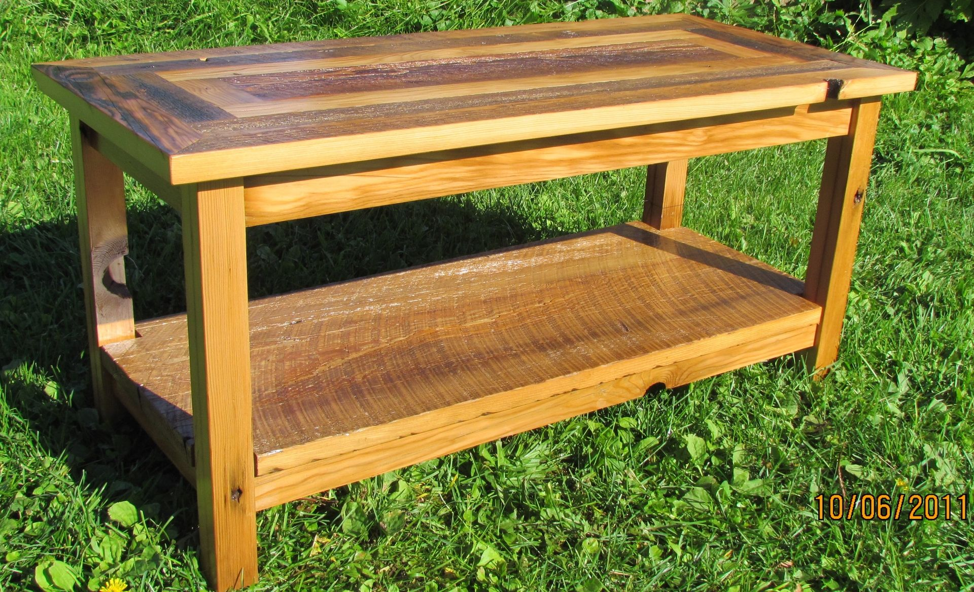 Handmade Reclaimed Barnwood Coffee Table With Matching End Tables