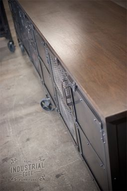 Custom Made Custom 9' Industrial Rolling Media Cabinet, Modern Industrial Console Table, Accent Table