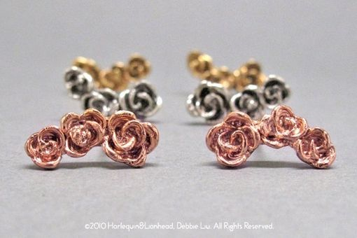 Custom Made 2-Way Rose Earrings - Gold Plated Or Rose Gold Plated