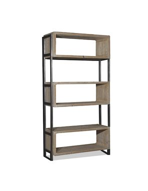 Custom Made Reclaimed Wood & Steel Modern Bookcase