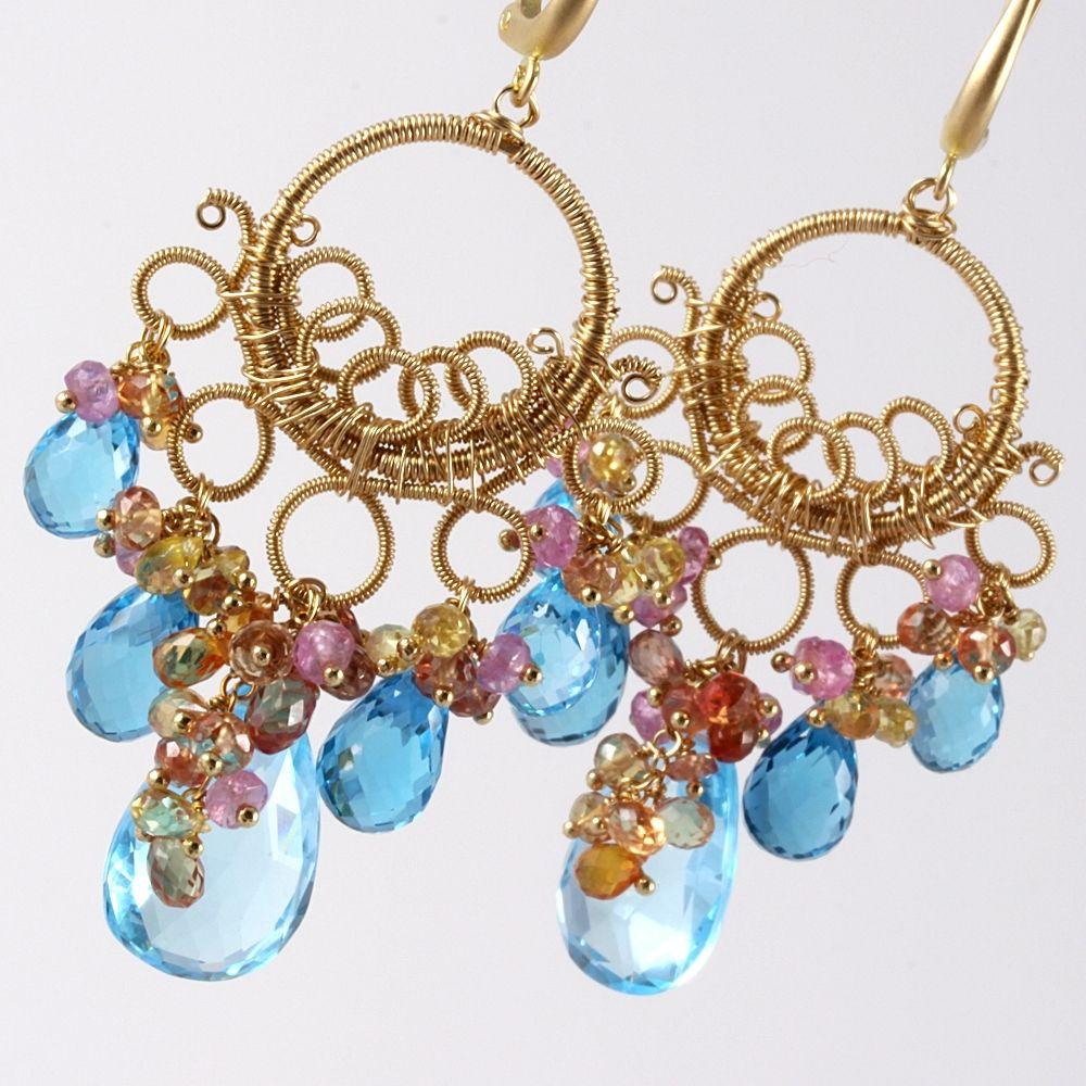 Custom Made 18k Gold Swiss London Blue Topaz Wire Wrapped Chandelier  Earrings