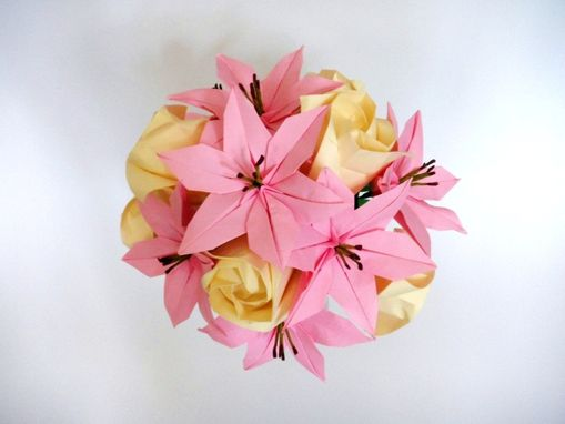 Custom Made Pink Lilies And Cream Roses Origami Bouquet