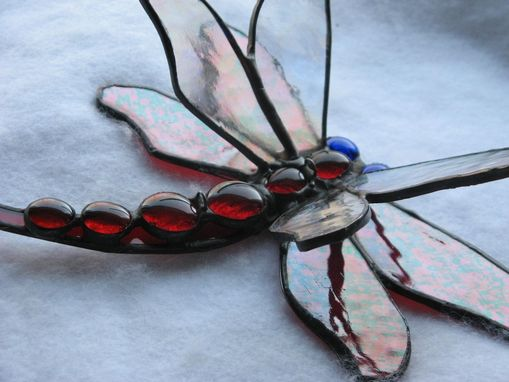 Custom Made Red Double-Winged Dragonfly Stained Glass Art