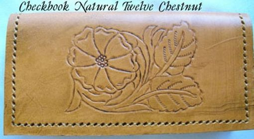 Custom Made Custom Leather Checkbook Cover With Natural 12 Design And In A Chestnut Stain