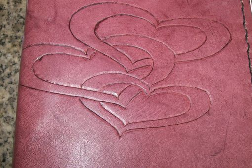 Custom Made Custom Leather Address Book With 3 Heart Design In Light Mahogany