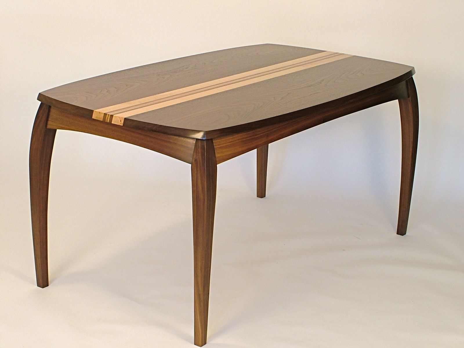 Custom cabrio desk dining table in walnut and birds eye for Maple furniture