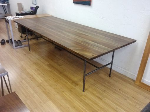 Custom Made Walnut And Steel Banquet Table
