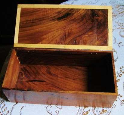 Custom Made Handmade Hinged Wood Document, Jewelry Box Made From Reclaimed Recycled Maple & Walnut