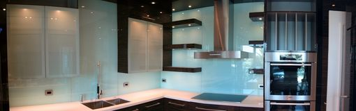 Custom Made Painted Glass And Exotic Wood Miami Kitchen