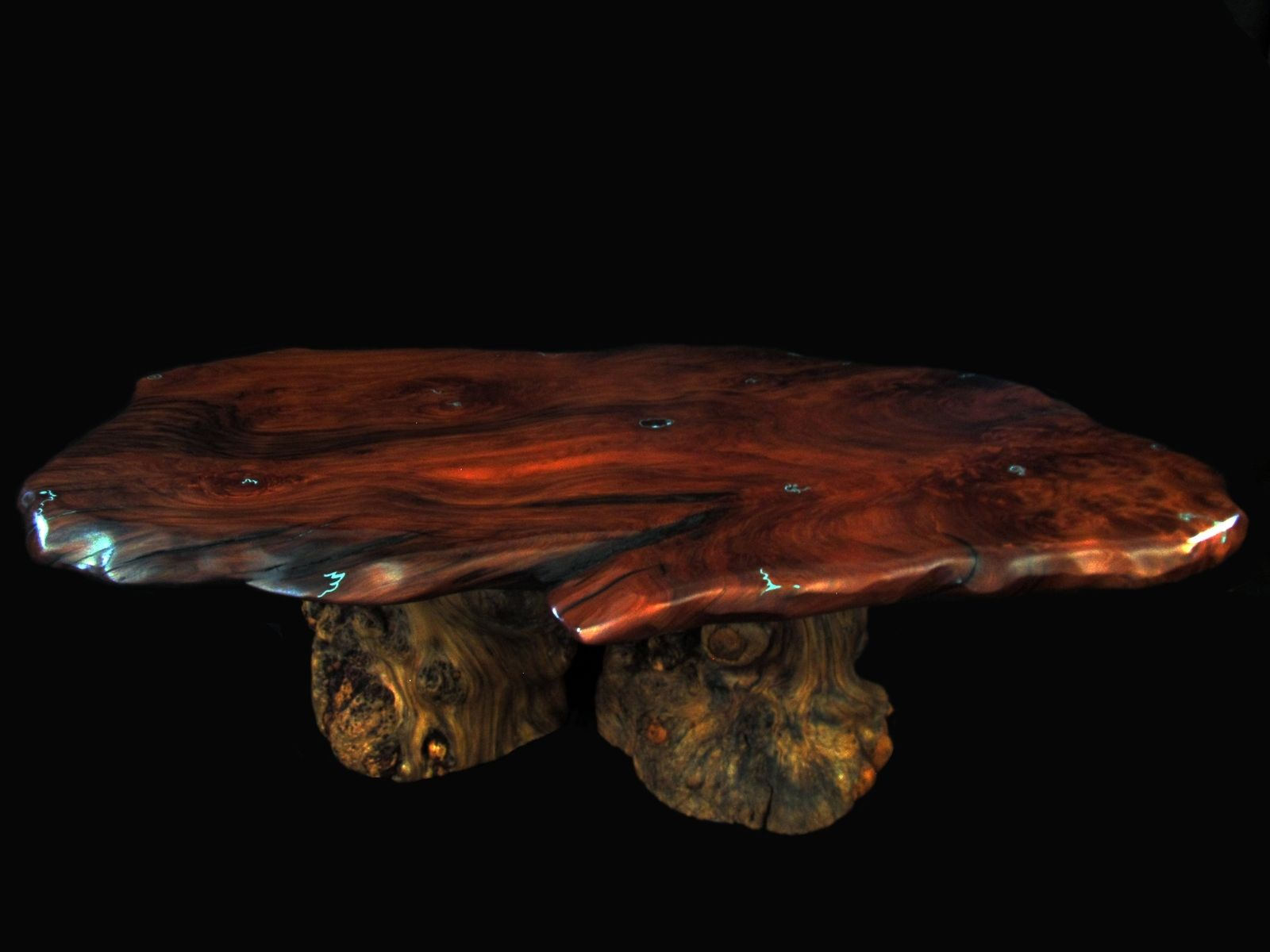 Custom Live Edge Burled Redwood & Burl Pine Coffee Table With