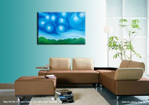 Custom Made Original Acrylic Art, Blue Green Painting, Modern Abstract Landscape, Textured Starry Night
