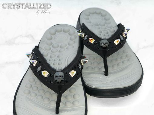 Custom Made Custom Crystallized Skull Flip Flops Shoes Summer Bling Swarovski Crystals Bedazzled