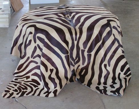 Custom Made Zebra Hide Ottoman Coffee Table