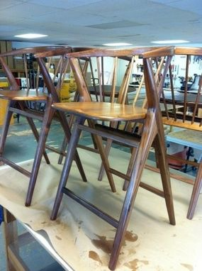 Custom Made Danish Modern-Inspired Walnut Counter-Height Bent Back Chairs