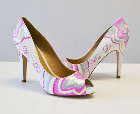 Custom Made Wedding Shoes - Bridal Shoes - Hand Painted Heels-  Pink Shoes