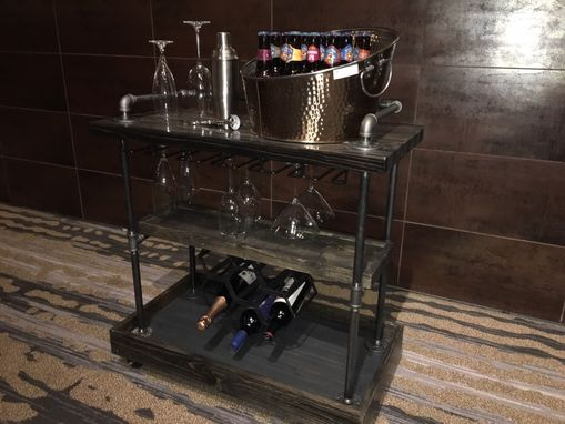 Custom Made Bar Cart With Wine Glass Holder.