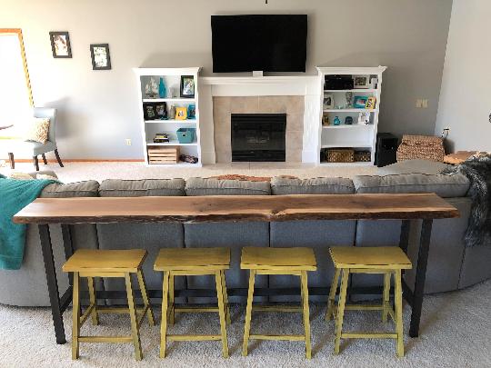 Prime Custom Live Edge Bar Table Black Walnut Home Bar Top By Machost Co Dining Chair Design Ideas Machostcouk