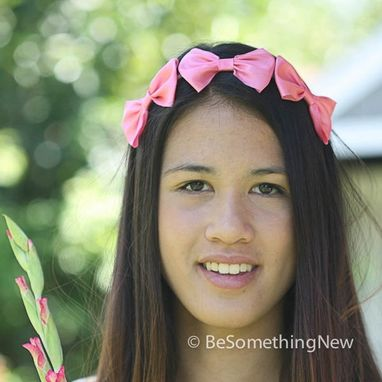 Custom Made Three Little Bows In Pink, Headband For Adults, Women Hair Accessory, Bridesmaids Hair Accessories